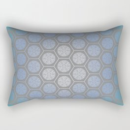 Hexagonal Dreams - Blue Turquoise Gradient Rectangular Pillow