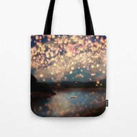 lanterns Tote Bags featuring Love Wish Lanterns by Paula Belle Flores