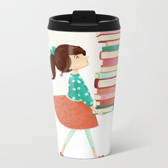 Library Girl Metal Travel Mug