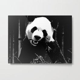 Cute Giant Panda Bear with tasty Bamboo Leaves Metal Print