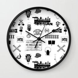 Railroad Symbols on White Wall Clock