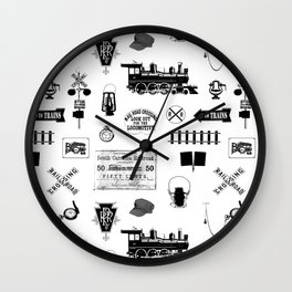 Railroad Symbols on White Wall Clock