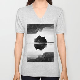 Black and White Isolation Island Unisex V-Neck