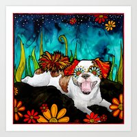shih tzu Art Prints featuring Shih Tzu by RobiniArt