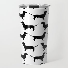 Dachshund Black and White Pattern Travel Mug