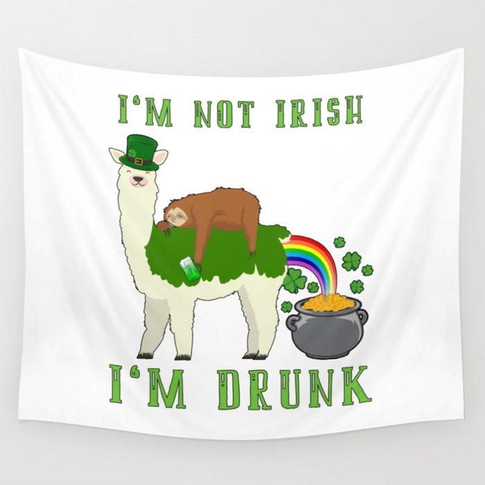 St Patricks Day Llama Sloth Irish Drinking Team Wall Tapestry By