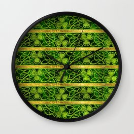 Irish Shamrock -Clover Gold and Green pattern Wall Clock