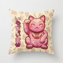Hanami Maneki Neko: Ai Throw Pillow
