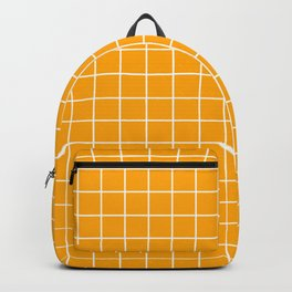 Chrome yellow - orange color - White Lines Grid Pattern Backpack