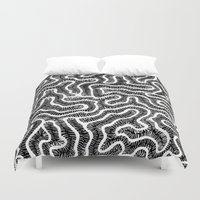 coral Duvet Covers featuring Coral by Doodle Frisson