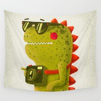 dino Wall Tapestries featuring Dino touristo (olive) by Lime