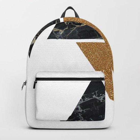 Dark marble and bronze geo Backpack