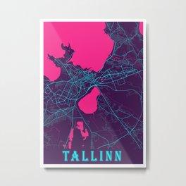 Tallinn Neon City Map, Tallinn Minimalist City Map Art Print Metal Print