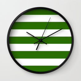 Metallic green - solid color - white stripes pattern Wall Clock
