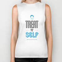parks and recreation Biker Tanks featuring Tom Haverford, Typography Print, Parks and Recreation, TV Quote, Television - Treat Yo Self by Pop Art Press