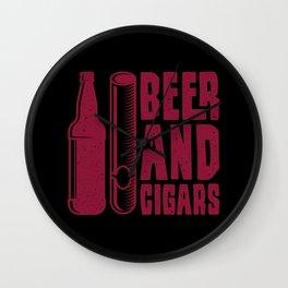 CIGAR AND BEER Cigar Aficionado Gift Cigar Smoker Wall Clock