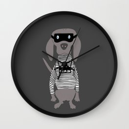 Weim Crime Grey Ghost Weimaraner Dog Hand-painted Pet Drawing Wall Clock