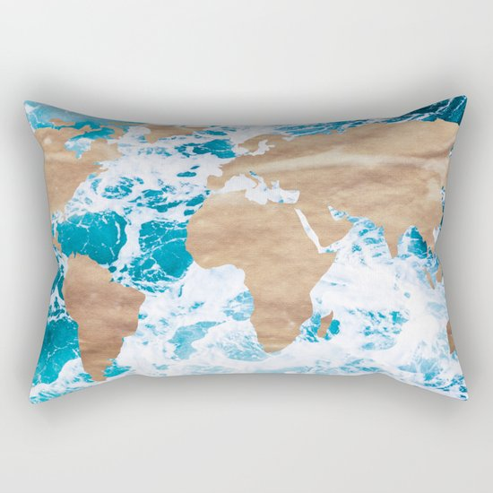 Ocean World Map Vintage Turquoise Sea Rectangular Pillow