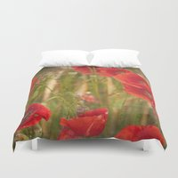 poppies Duvet Covers featuring Poppies...... by Guido Montañés