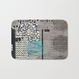 Grey Teal Abstract Art  Bath Mat