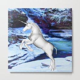 Unicorn in the Snow Metal Print