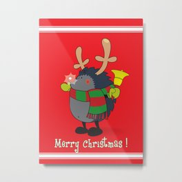 Rudolph the Red Nosed Hedgehog wishes You a Merry Christmas! Metal Print