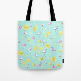 Flamingo Lemon Twist Summer Pattern #1 (Kids Collection) #decor #art #society6 Tote Bag