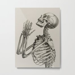 William Cheselden, Osteographia (The Anatomy of Bones), London, 1733 Praying Skeleton Metal Print
