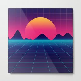 Throwback Sunset Synthwave Metal Print