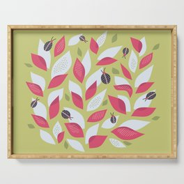 Pretty Plant With White Pink Leaves And Ladybugs Serving Tray