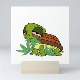 Chill' Ma Cannabis Weed T-shirt Design Marijuana Medication Legalized Reptile Tortoise Sea Sand Mini Art Print