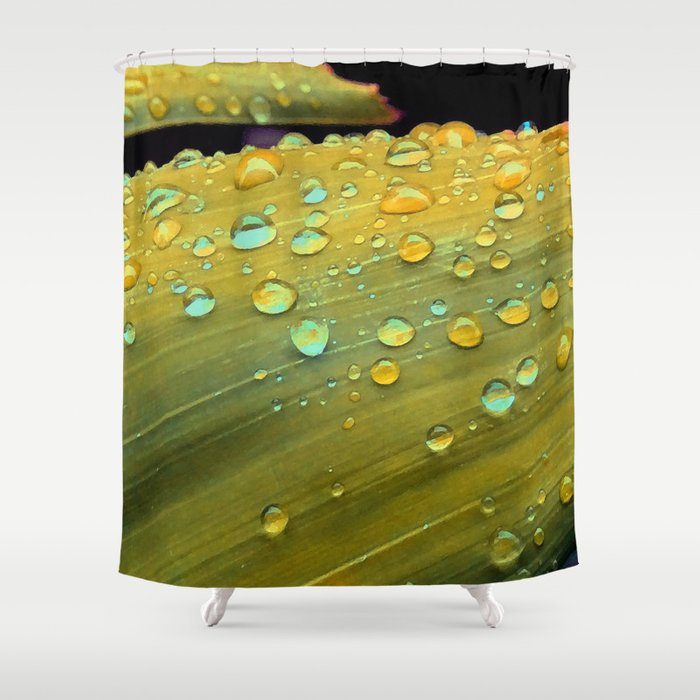Spacey Raindrops In Mustard Yellow Shower Curtain