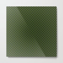 Black and Greenery Polka Dots Metal Print