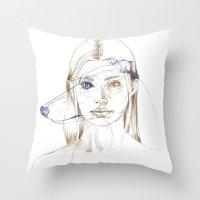 greyhound Throw Pillows featuring Greyhound by Clunaillustration