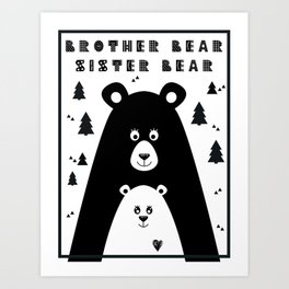 Brother Bear and Sister Bear Minimalist Poster v2 Art Print