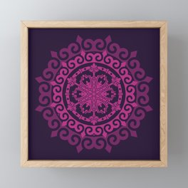 Pink Mandala on Dark Purple Framed Mini Art Print
