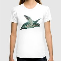 "biology T-shirts featuring ""Moonlit"" - Green Sea Turtle, Acrylic by Amber Marine"