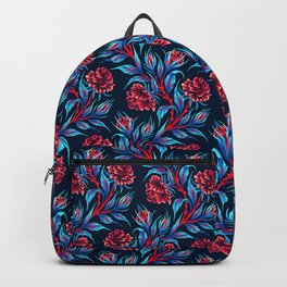Roses - Dark Blue Red Backpack