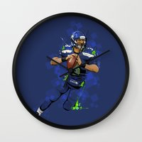 seahawks Wall Clocks featuring Russell Wilson QB 3 Seattle Seahawks by Akyanyme