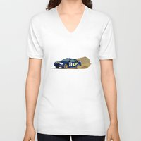 subaru V-neck T-shirts featuring Colin McRae Subie by Arch Duke Maxyenko