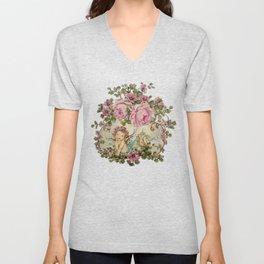 Sweet Cherub and Pink Roses Painting Unisex V-Neck