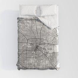 Houston City Map of Texas, USA - Light Duvet Cover