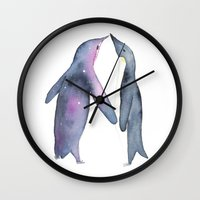 penguins Wall Clocks featuring Penguins by Elk and Pine Design