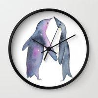 penguins Wall Clocks featuring Penguins by Kelly McTavish