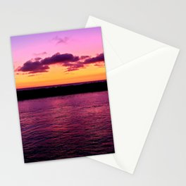 Blazing Sunset Over Newport Harbor Stationery Cards