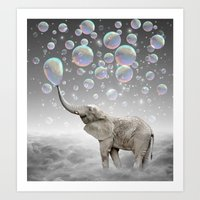dreams Art Prints featuring The Simple Things Are the Most Extraordinary (Elephant-Size Dreams) by soaring anchor designs