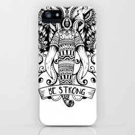 Giant Elephant Head sketch iPhone Case