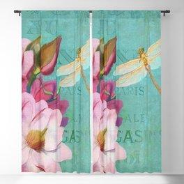 Verdigris Pink Magnolias Blackout Curtain