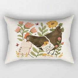 Chicken Reading a Book Rectangular Pillow