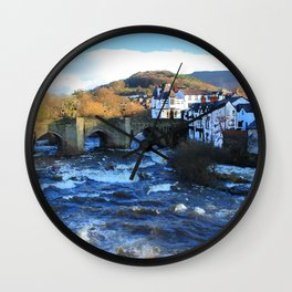 Bridge over  River Dee in spate at Llangollen, Wales Wall Clock